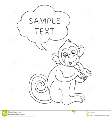 vector funny monkey with speech bubble illustration card with