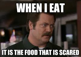 Memes Scared - parks and recreation meme food is scared on bingememe