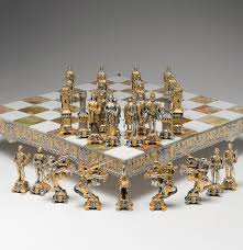 piero benzoni medieval 24k gold and silver plate chess set ebth