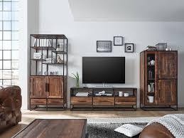 Esszimmer Royal Akazie Highboard 3 Türen Kommode Vitrine Schrank Akazie Holz Möbel Metall