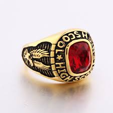 class rings gold images Men gold filled eagles ruby high school style class ring stainless JPG