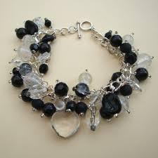 black beaded charm bracelet images Black and clear beaded bracelet pirate treasures handmade jewellery jpg