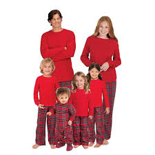 family matching pajamas sets plaid xams sleepwear for