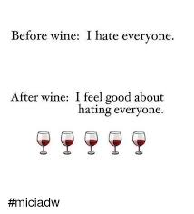I Feel Good Meme - before wine i hate everyone after wine i feel good about hating
