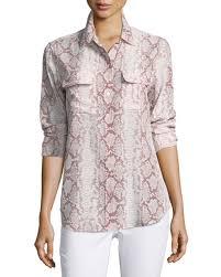 snake print blouse equipment slim signature sleeve snake print silk shirt