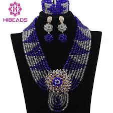 bib necklace aliexpress images Royal blue and silver beads set nigerian african royal blue beads jpg
