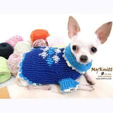 unique blue argyle sweater crocheted chihuahua clothes dk854