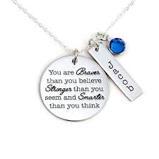 inspirational necklace jewelry matter inspiration necklace braver stronger smarter
