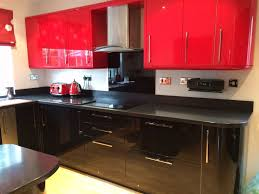 Black Gloss Kitchen Cabinets by Black And Red Gloss Kitchen Doors Drawer Fronts And Kick Boards