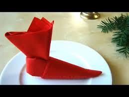 weihnachtsservietten falten servietten falten weihnachten nikolaus nikolausstiefel