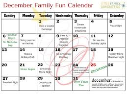 family calendar things to do with the december