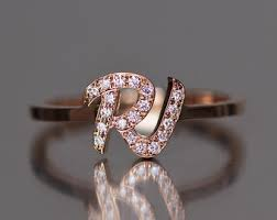 custom initial rings diamond initial ring personalized diamond ring letter ring