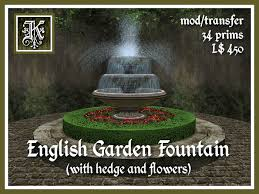 l with water fountain base second life marketplace kismet english garden fountain with