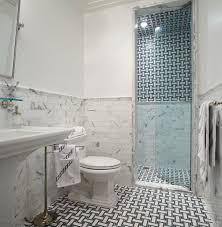 Mirrored Subway Tile Backsplash Bathroom Transitional With by Eva Quateman Interiors Bathrooms Marble Subway Tile Tiled