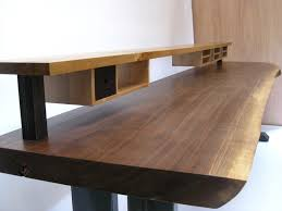 live edge desk with drawers hand made walnut slab desk with shelving and drawers by greenwood