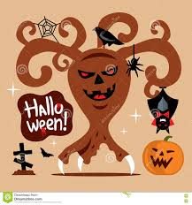 vector scary halloween tree cartoon illustration stock vector