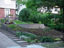 Landscaping Ideas For Sloped Backyard Backyard Landscaping Slope Sloping Garden Design Ideas Backyard