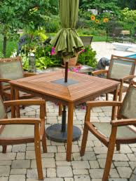 Patio Table Chairs square patio table 4 chairs granite inlay wood outdoor dining set