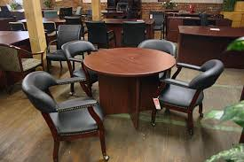 used conference room tables compel round conference table and captains chairs www bfwnashville