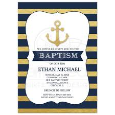 baptism invitations anchor nautical gold and navy stripe baptism invitation
