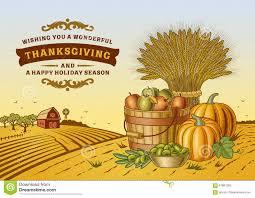 vintage thanksgiving landscape stock vector illustration of