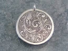 jewelry sterling silver engraved scrollwork pendant
