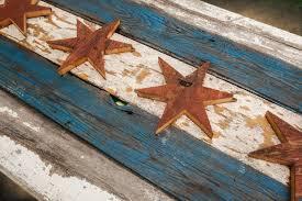 handmade recycled barn wood chicago flag vintage art