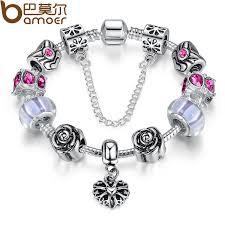 silver pink bracelet images Bamoer 4colors original silver pink heart charm bracelet with jpg
