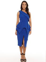 peplum dress cameo the end one shoulder peplum dress in cobalt
