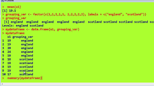 Mean Names R Statistics 2 Factors Dataframes Tapply Attach Labels