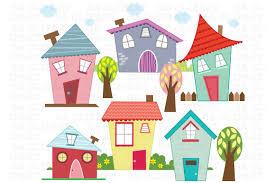 little houses digital clip art illustrations creative market