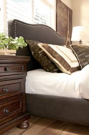 Upholstered Nailhead Headboard by King Upholstered Bed With Brown Woven Fabric Arched Headboard