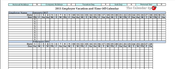 vacation tracking calendar template calendar template 2017