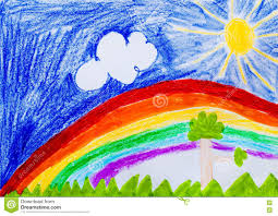 sky and rainbow sun and trees child drawing stock illustration