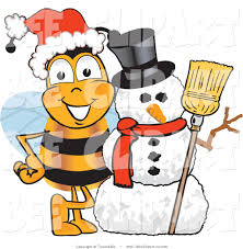 clip art a bumble bee with a snowman on christmas by toons4biz