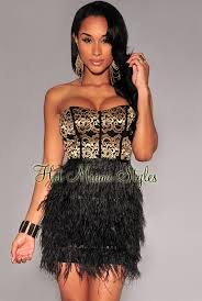 black and gold dress gold lace top faux feather strapless dress