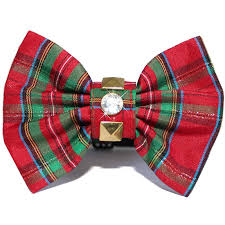 plaid christmas rock and green plaid bow tie christmas dog collar