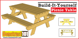 garden patio and picnic table plans free diy outdoor plans