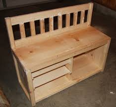 homemade wood entryway bench with horizontal ladder and shoe rack