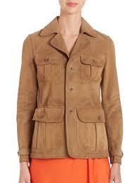 polo ralph lauren suede jacket in brown lyst
