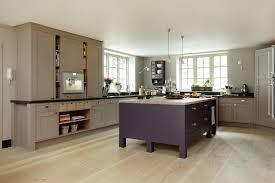 hand painted kitchen islands frillen in aubegine and mink sola kitchens credence cuisine