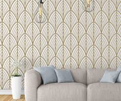 Removable Wallpaper Tiles by Art Deco Leaves Removable Wallpaper Moonwallstickers Com