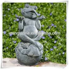 Decorative Frogs Happy Frog Sitting On The Lotus Leaf Copper Sculpture For Garden