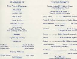 Funeral Programs Order Of Service Zora Woodward Pearce Tribute