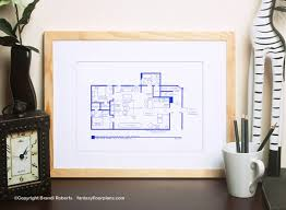Tv Show Apartment Floor Plans Friends Tv Show Floor Plan Blueprint Art For Apartment Of