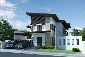 Modern House Design Front View With Small Garden And Gray Path - Modern design homes