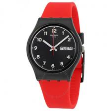 red swatch swatch red grin black dial ladies casual watch gb754 originals