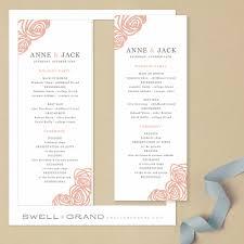 tea length wedding program template printable wedding program template instant roses