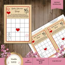instant download baby shower invitations printable bingo baby shower game card template alice in
