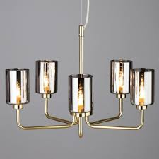 5 light mid century inspired ceiling pendant with smoke glass